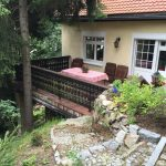 Demontage des Geländers und Abriß der alten Terrassenplatten